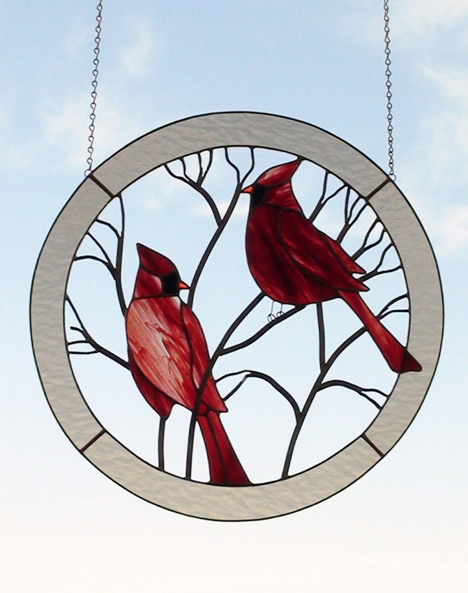 Large Cardinals Circle Stained Glass Panel for the Window