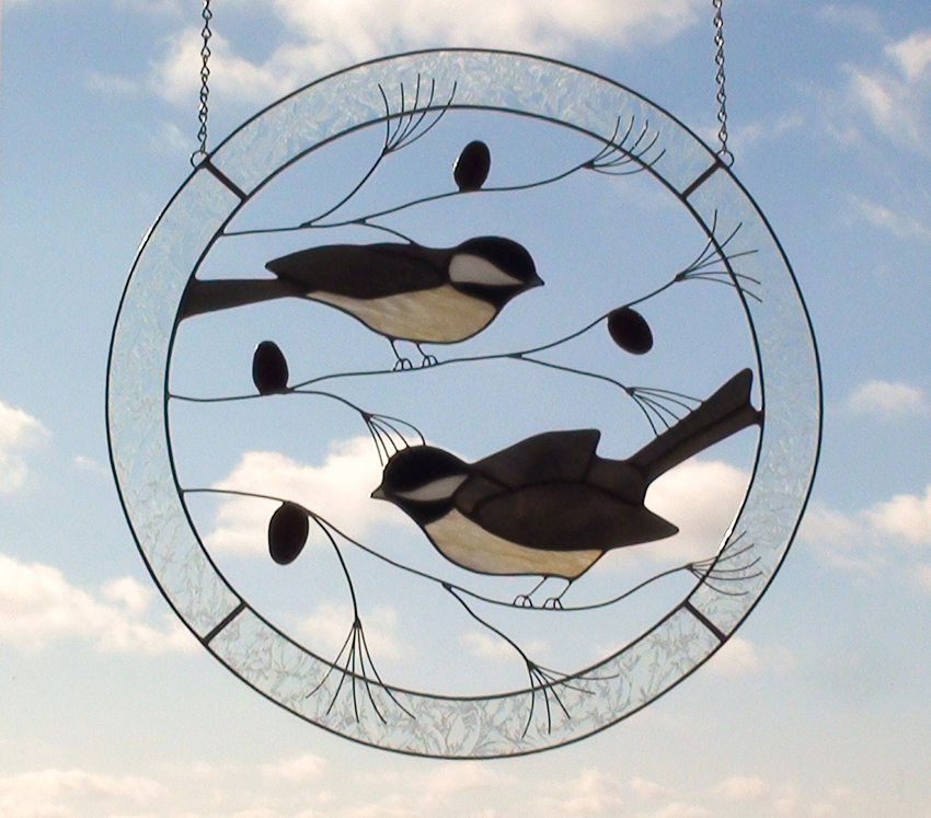 Large Chickadees Circle Stained Glass Panel for the Window