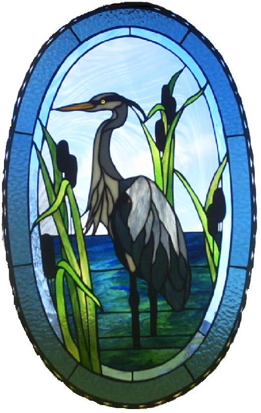 Large Heron Oval Stained Glass Panel for the Window