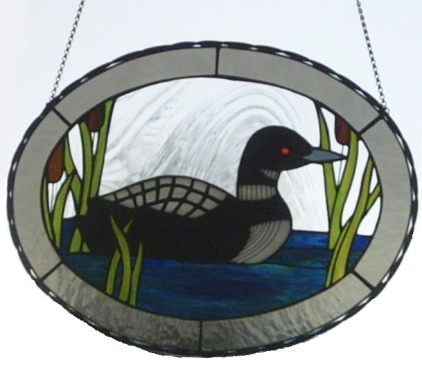 Large Loon Oval Stained Glass Panel for the Window