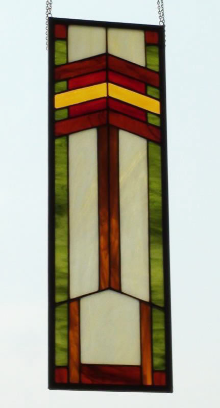 Large Prairie Style Rectangle Stained Glass Window Panel.
