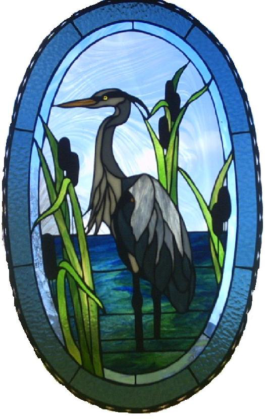 Beautiful Heron Stained Glass Art Window Sun Catcher.