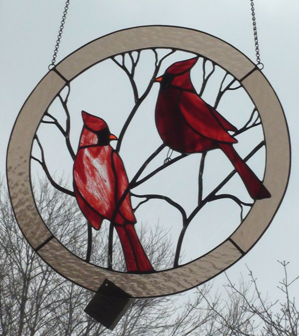 Large Double Cardinal Red Birds Suncatcher Circle for Window