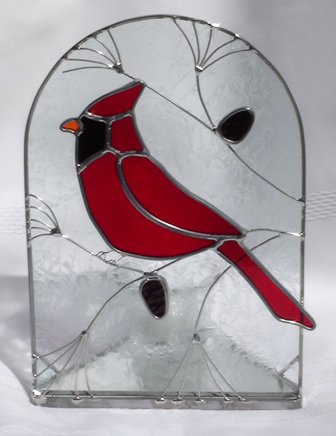 Red Cardinal Bird Stained Glass Candle Holder.