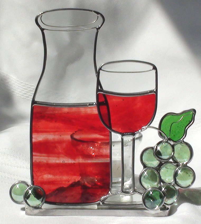 Wine Carafe Burgundy Wine Glass Grapes Candle Holder