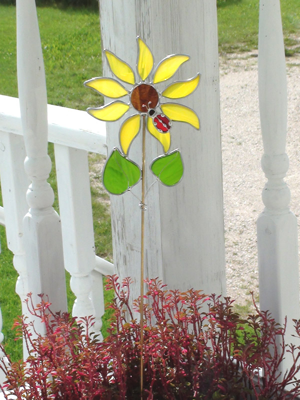Stained Glass Sun Flower Plant Stick