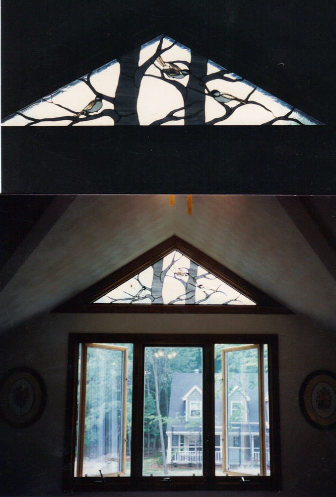 Custom Ordered Chickadee Triangle Transom Stain Glass Window for Appleton Wisconsin Residence