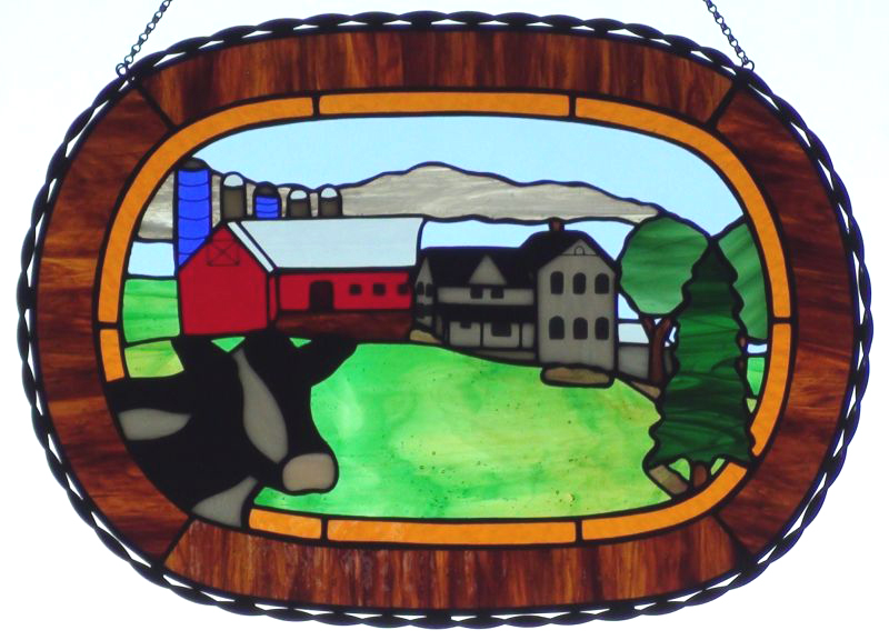 Custom Stained Glass Suncatcher of Reeds-Vu Dairy Farm