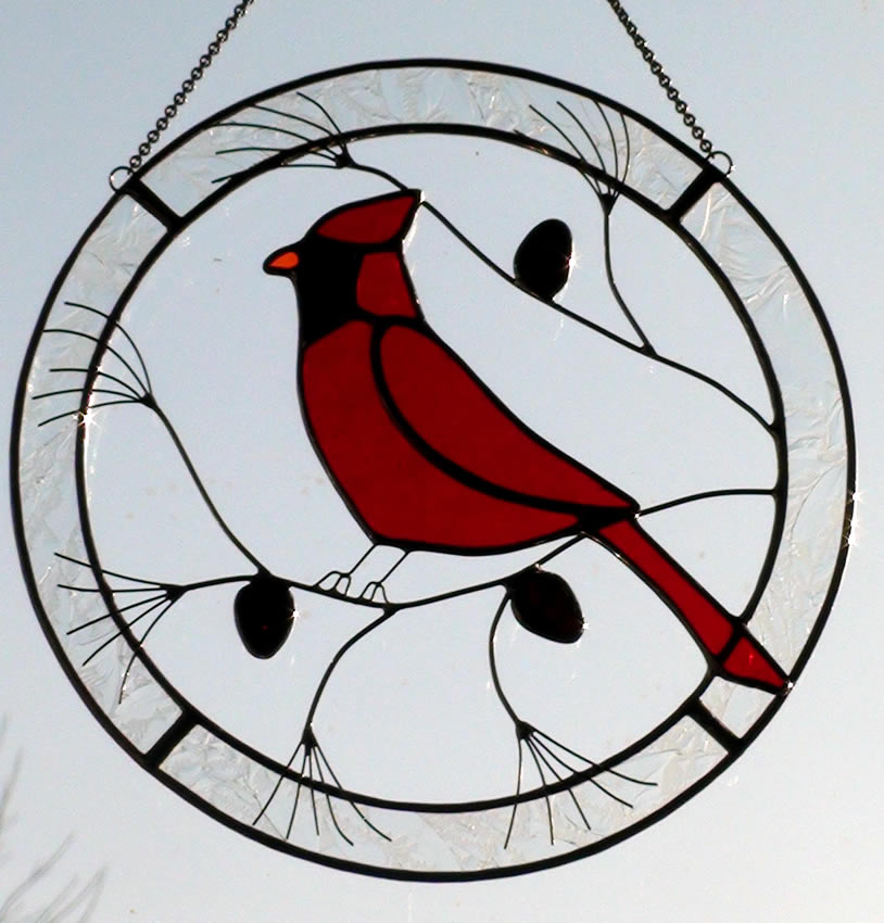 Cardinal Redbird in Suncatcher Circle on Pine Branch.